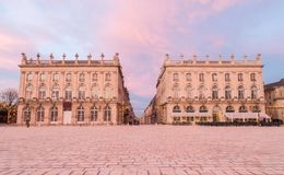 Place Stanislas Nancy France at sunset.  Royalty Free Stock Images