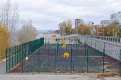 Place for street basketball. In Samara, Russia, next Volga river Stock Image