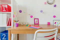 Place for study. Photo of cozy modern children place for study Stock Photos