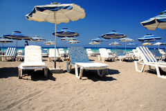 Place for summer leisure. Beach suitable for summer leisure waiting for vacation-makers Stock Images