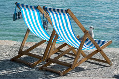 A place in the Sun. Two chairs and a seagull waiting for someone passionate tanning Royalty Free Stock Photos