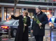 Place of terrorist act in Berlin on December 19, 2016. BERLIN, GERMANY - Jan 30, 2017: President of Ukraine Petro Poroshenko and German Chancellor Angela Merkel Royalty Free Stock Photo