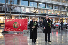 Place of terrorist act in Berlin on December 19, 2016. BERLIN, GERMANY - Jan 30, 2017: President of Ukraine Petro Poroshenko and German Chancellor Angela Merkel Stock Photo
