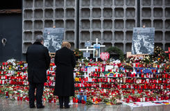 Place of terrorist act in Berlin on December 19, 2016. BERLIN, GERMANY - Jan 30, 2017: President of Ukraine Petro Poroshenko and German Chancellor Angela Merkel Royalty Free Stock Photography