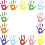 Place for text. frame. color prints of hands in paint. children`s fun vector illustration