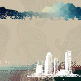 Place for text with grunge city. Royalty Free Stock Photography