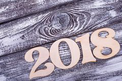 Place for text and numbers 2018. Skewed figures of the New Year. Relatives for the New Year stock photos