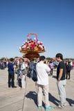 Place Tiananmen Chine, Asie, Pékin, jour national, panier des fleurs, Photos libres de droits