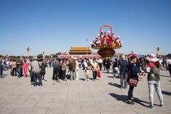 Place Tiananmen Chine, Asie, Pékin, jour national, panier des fleurs, Images libres de droits