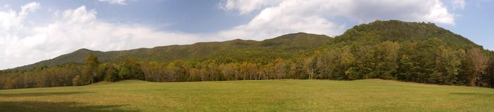 A place to breathe. A meadow in Cades Cove in the Smoky Mountains Stock Images