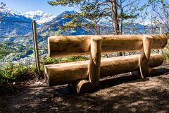 A place to chill during the hike to the top of Harder Kulm in Interlaken, Switzerland royalty free stock photo