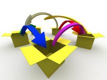 From place to place. 3d image of arrows jumping from box to box Stock Photography