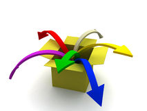From place to place. 3d image of arrows jumping from box to box Stock Photos