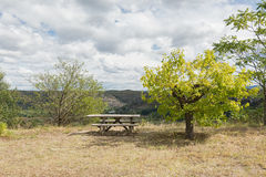 A place to relax overlooking the Ardeche mountains. Stock Photo