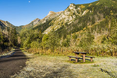 Place to rest on the road in the valley Stock Images