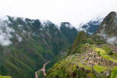 River between mountain and Machu Picchu, Peru, 02/08/2019 stock photo
