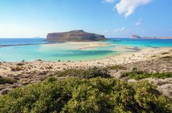 Place for tourists rest Balos lagoon, shore of Crete island, Greece. Ionian, Aegean and Libyan seas. Scenery of sunny summer day. Place for tourists rest Balos royalty free stock photos