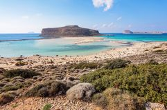 Place for tourists rest Balos lagoon, shore of Crete island, Greece. Ionian, Aegean and Libyan seas. Scenery of sunny summer day. Place for tourists rest Balos stock images