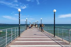 A place of walks for tourists Bulgaria.Sunny beach.25.08.2018 stock images