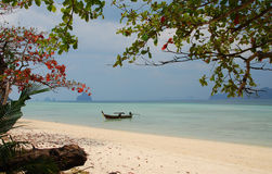 Beach of Koh Kradan in Krabi south of Thailand. Thailand travel scene.this is Koh Kradan beach in Krabi south of Thailand.Far from Bangkok about700 km.white sand Stock Photography