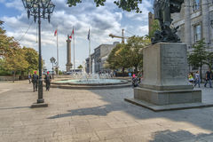Place Vauquelin. Is a public space in Montreal, created in 1930. It is located between the Champ de Mars and the Notre-Dame Street, west of the town hall Stock Photography