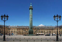 The Place Vendome Column in Paris Stock Images