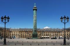 The Place Vendome Column in Paris. The Place Vendome Column in front of the Hotel Ritz Paris Stock Images