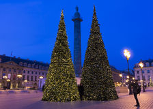 The place Vendome decorated for Christmas, Paris, france. Royalty Free Stock Images
