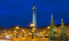 The place Vendome at night, Paris, France. Stock Images