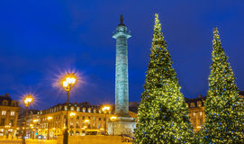 The place Vendome at night, Paris, France. The place Vendome decorated for Christmas at night, Paris, France Stock Images