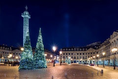 Place Vendome at night, Paris, France. Place Vendome decorated for Christmas at night, Paris, France stock photos