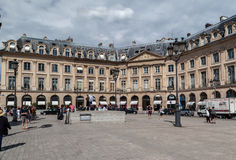 Place Vendome Paris. Place Vendome with its historical buildings and a magazine photo shooting Royalty Free Stock Photos