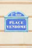 Place Vendome sign in Paris. France Stock Photography