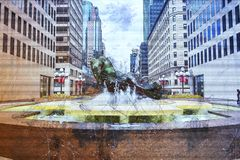 Place ville Marie Fountain Illustration Stock Photos