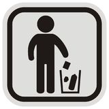 Place for waste, black figure and trash can. Vector icon, gray and black frame Stock Photography