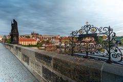 Dawn on the Charles Bridge stock photos