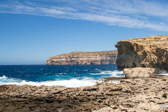 Place where was Azure Window after collapse in Gozo Island, Malta. Royalty Free Stock Photography