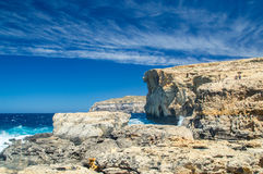 Place where was Azure Window after collapse in Gozo Island, Malta. Stock Images
