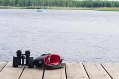 Place for wildlife watching. Jetty where you forget the binoculars Royalty Free Stock Photography