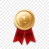 1 place winner golden medal vector award ribbon. 1 winner golden medal award with ribbon vector realistic icon isolated on transparent background. Number one 1st stock illustration