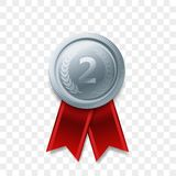 2 place winner silver medal vector award ribbon. 2 winner silver medal award with ribbon vector realistic icon isolated on transparent background. Number one 2nd Stock Image