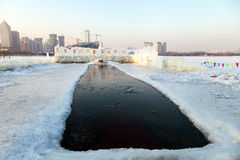 PLACE FOR WINTER SWIMMING. A place specially equipped for winter swimming in China.The meaning of the word is swimming Royalty Free Stock Image