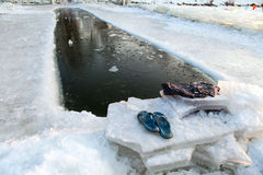 PLACE FOR WINTER SWIMMING. A place specially equipped for winter swimming in China Stock Photo