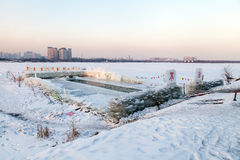 PLACE FOR WINTER SWIMMING. A place specially equipped for winter swimming in China Stock Photography