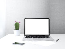 Place of work. With electronic devices on desk next to the wall and window Royalty Free Stock Photos