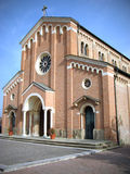 Place of worship. Romanic style church enbtrance detail Stock Photos