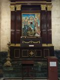 Place of worship, chapel, altar, shrine, cathedral, furniture, religion. Place of worship is chapel, cathedral and facade. That marvel has altar, furniture and stock photo