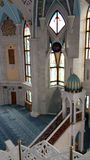 Place of worship Muslim prayer building. Time of prayer, architecture and elements of the mosque. Kazan stock image