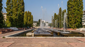 The fountains. On this place young people usually make appointments to meet or in the hot days, as it was that day, people like to sit around the refreshing royalty free stock photos