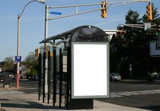Place your ad on a bus shelter. This is for advertisers to place ad copy samples on a bus shelter Stock Photos